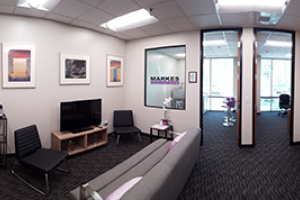 Panoramic photo of the inside of the new office
