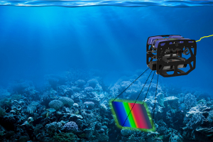 Depiction of underwater robot scanning a reef.
