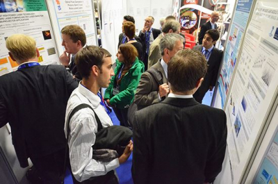 Visitors at a poster session