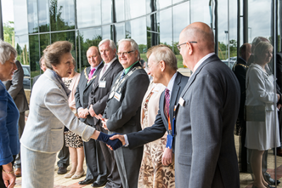Photo of HRH Princess Anne meeting Renishaw staff