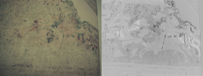 The upper cloister of Brandenburg Cathedral: Details of the wall frescos such as horses are now coming to light in spots where only traces of pigments had been discernible (left). A hyperspectral camera with specially engineered software has revealed the images (right). © Fraunhofer IFF
