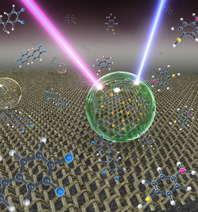 Artistic illustration showing an ultrasensitive detection platform termed slippery liquid infused porous surface-enhanced Raman scattering (SLIPSERS). In this platform, an aqueous or oil droplet containing gold nanoparticles and captured analytes is allowed to evaporate on a slippery substrate, leading to the formation of a highly compact nanoparticle aggregate for surface enhanced Raman scattering (SERS) detection. Image: Shikuan Yang, Birgitt Boschitsch Stogin and Tak-Sing Wong/Penn State