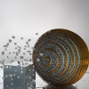 Impression of a single gold plasmonic nanoantenna probing the hydrogen absorption in an adjacent palladium nanocube